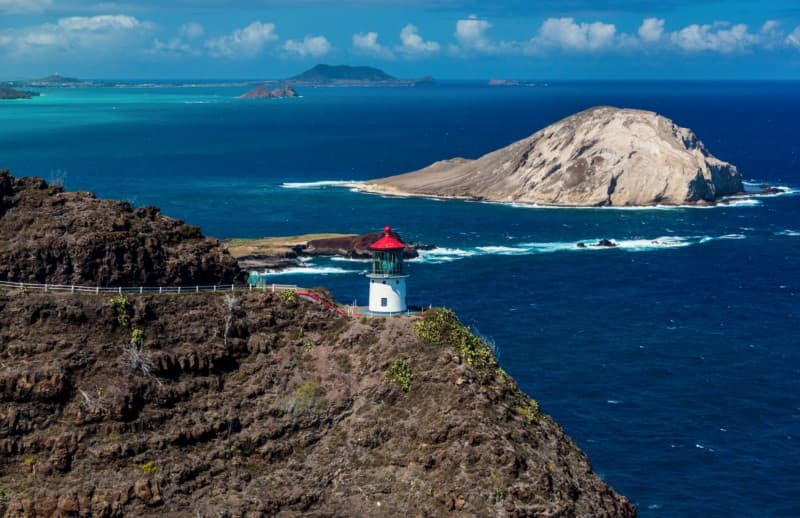 Makapuʻu Lighthouse with Manana Island in the background