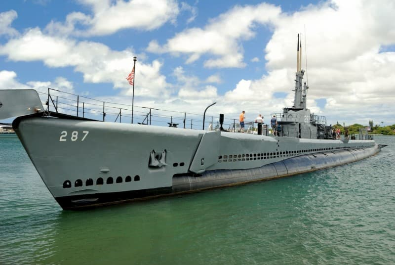 U.S.S. Bowfin Submarine (from shore)