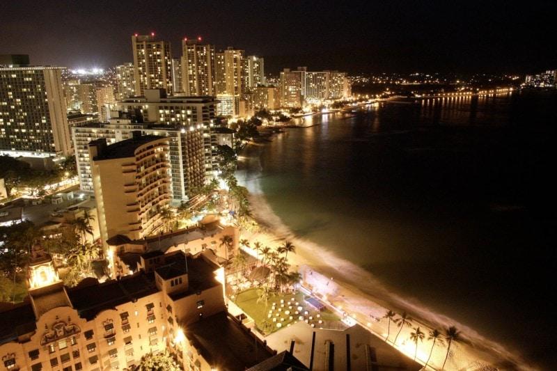 Aerial shot of Waikiki at night