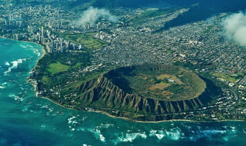 Aerial shot of the Diamond Head crater and downtown Honolulu