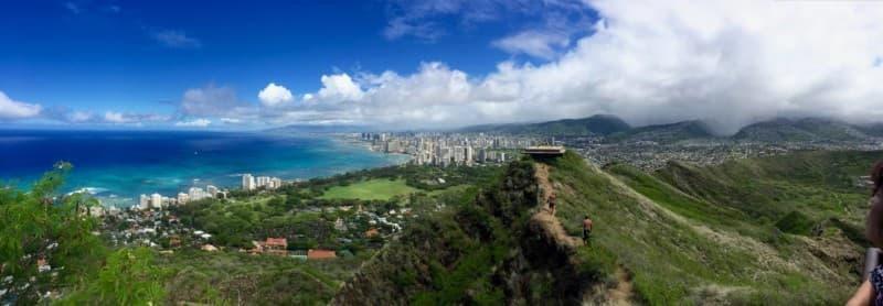diamond crater summit hike view of Honolulu