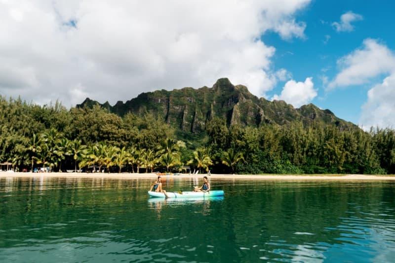 Couple tandem kayaks in Kaneohe Bay on Oahu