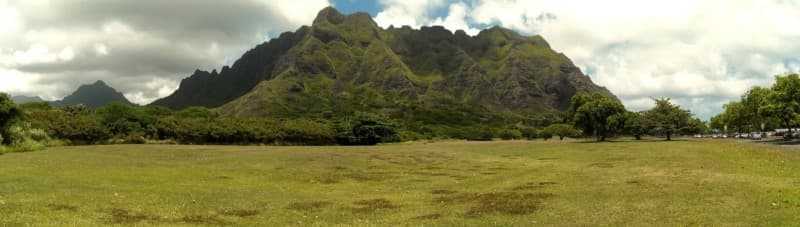 Looking back to the ridge from the Kualoa Regional Park
