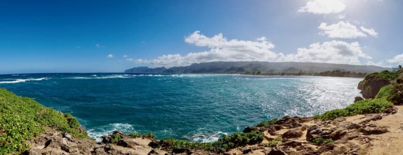 Panorama of the Koʻolau Mountains taken from Lāʻie Point State Park
