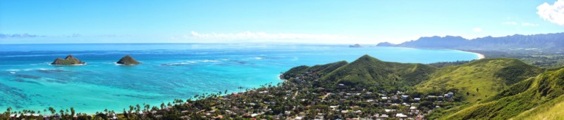 panoramic view of Lanikai and Bellows Field Beach Park