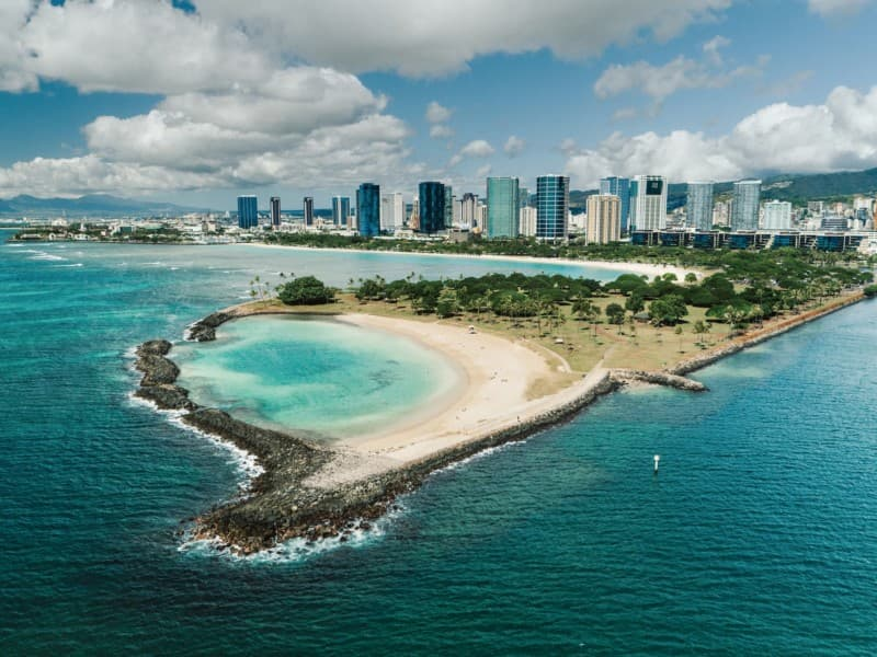 Aerial view of the Magic Island Lagoon