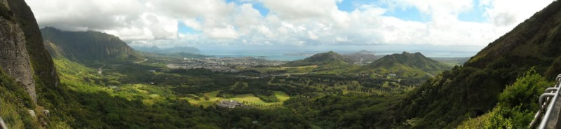 Panorama from the Pali Lookout towards Kailua