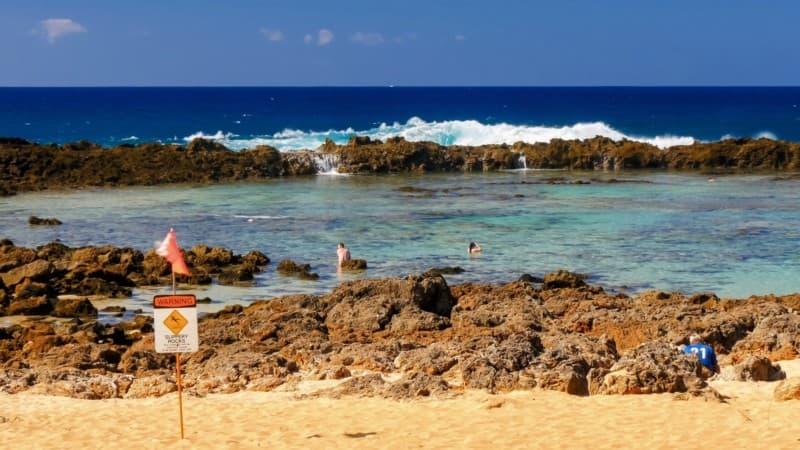 People snorkeling at shark cove on O'ahu
