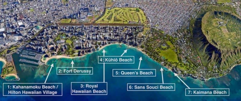 Waikīkī beach map