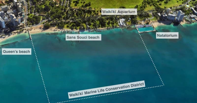 Map showing the extent of the Waikīkī Marine Life Conservation District
