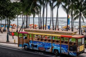 Waikiki Trolley at Kuhio Beach