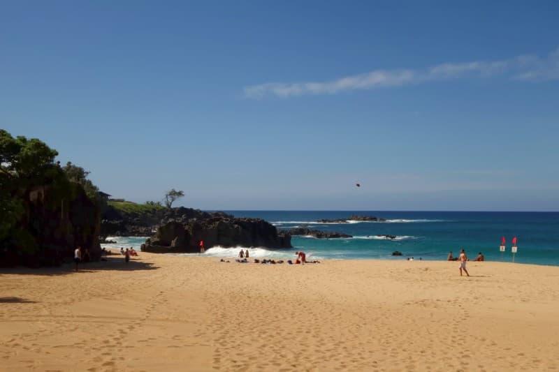 large rock at Waimea Bay, O'ahu, Hawai'i
